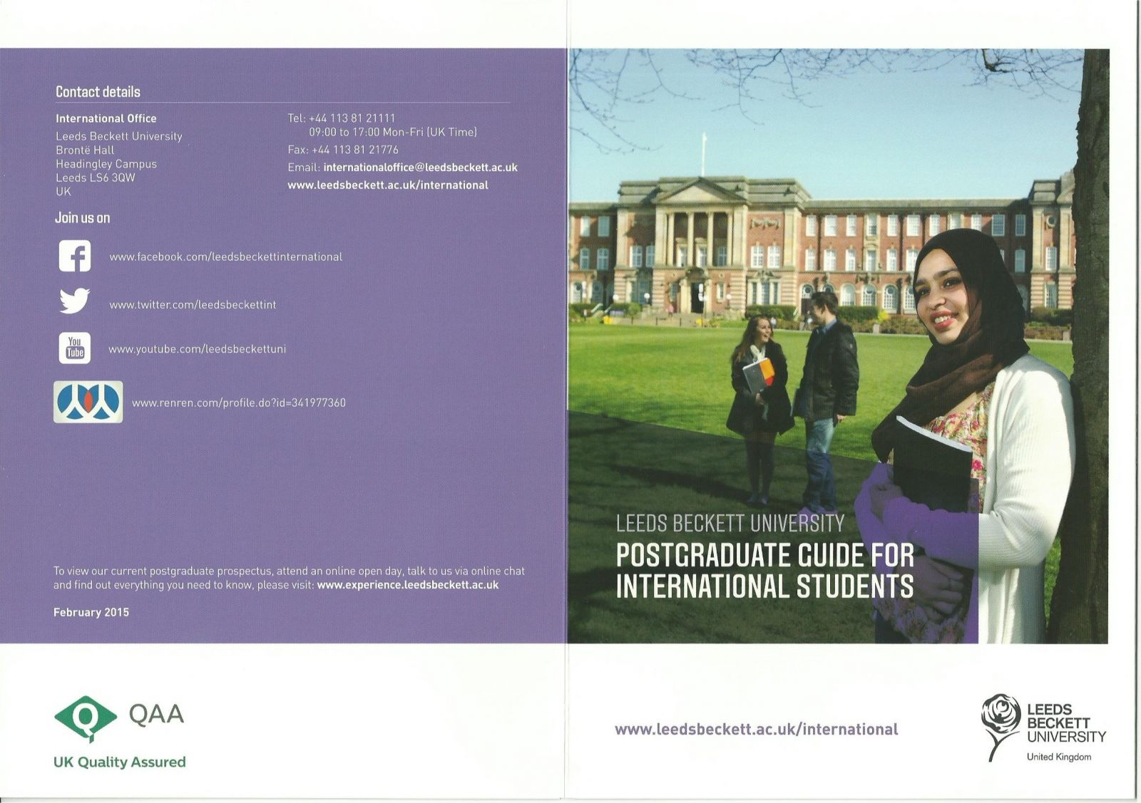Postgraduate Guide for International Students at Leeds Beckett University, England 2016.